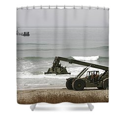 Seabee Loader And Powered Causeway Shower Curtain by Michael Wood