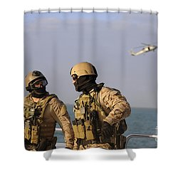 Seals Aboard A Rigid-hull Inflatable Shower Curtain by Stocktrek Images