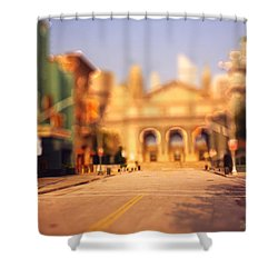 Shower Curtain featuring the photograph Seaport Tiltshift by EricaMaxine  Price