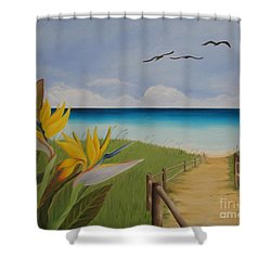 Shower Curtain featuring the painting Seascape by Jindra Noewi