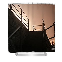 Shower Curtain featuring the photograph Seaside Railings by Terri Waters