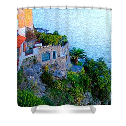 Seaside Villa Amalfi Shower Curtain by Bill Cannon