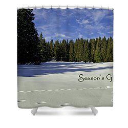Season's Greetings Austria Europe Shower Curtain by Sabine Jacobs