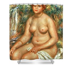 Seated Bather Shower Curtain by Pierre Auguste Renoir