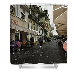 Seated In The Cafe Along The River In Lucerne In Switzerland Shower Curtain by Ashish Agarwal