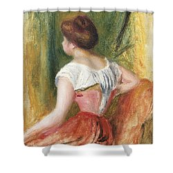 Seated Young Woman Shower Curtain by Pierre Auguste Renoir