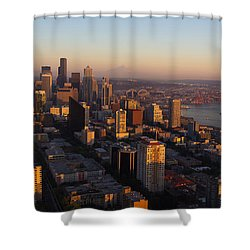 Seattle Blue Hour Shower Curtain by Heidi Smith