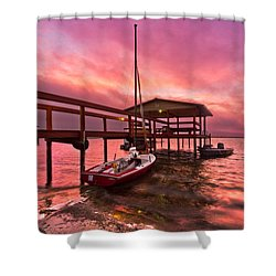 Sebring Sailing Shower Curtain by Debra and Dave Vanderlaan
