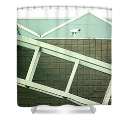 Shower Curtain featuring the photograph Security Camera On Government Building by Renee Trenholm