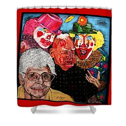 Send In The Clowns Shower Curtain by Karen Elzinga
