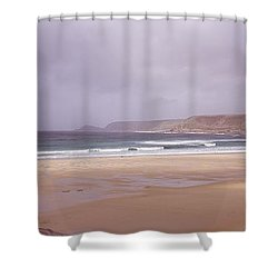 Sennen Cove Beach At Sunset Shower Curtain by Axiom Photographic