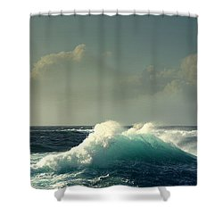 Sennen Surf Seascape Shower Curtain by Linsey Williams