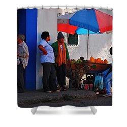 Senor Papaya Shower Curtain by Skip Hunt