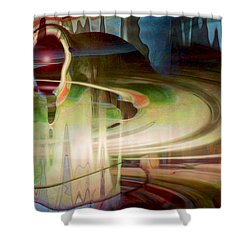 Sensing The Spheres Shower Curtain by Linda Sannuti