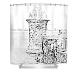 Sentry Tower Castillo San Felipe Del Morro Fortress San Juan Puerto Rico Line Art Black And White Shower Curtain by Shawn O'Brien