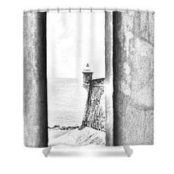 Sentry Tower View Castillo San Felipe Del Morro San Juan Puerto Rico Black And White Line Art Shower Curtain by Shawn O'Brien