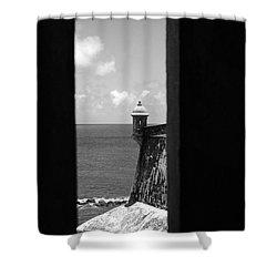 Sentry Tower View Castillo San Felipe Del Morro San Juan Puerto Rico Black And White Shower Curtain by Shawn O'Brien