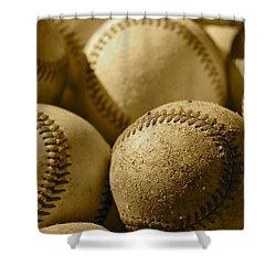 Sepia Baseballs Shower Curtain by Bill Owen