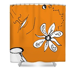 Serenity In Orange Shower Curtain by Mary Mikawoz