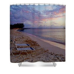 Seven Mile Beach Sunset Shower Curtain by Carey Chen
