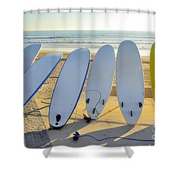 Seven Surfboards Shower Curtain by Carlos Caetano