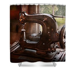 Sewing Machine - Leather - Saddle Sewer Shower Curtain by Mike Savad