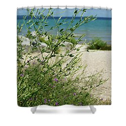 Shower Curtain featuring the photograph Shades Of Blue by Linda Shafer