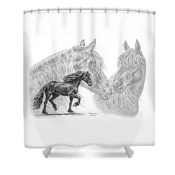 Shadowy Waves - Friesian Horses Art Print Shower Curtain