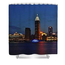 Shanghai Bund Panorama - Night Shower Curtain