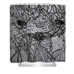 Shower Curtain featuring the drawing Shango by Gloria Ssali