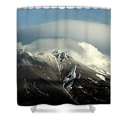 Shower Curtain featuring the digital art Shasta Lenticular 2 by Holly Ethan