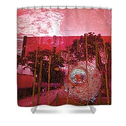 Shower Curtain featuring the photograph Abstract Shattered Glass Red by Andy Prendy