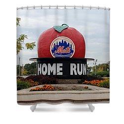 Shea Stadium Home Run Apple Shower Curtain by Rob Hans