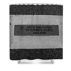 Shea Stadium Pitchers Mound In Black And White Shower Curtain by Rob Hans