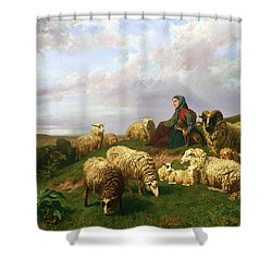 Shepherdess Resting With Her Flock Shower Curtain by Edmond Jean-Baptiste Tschaggeny