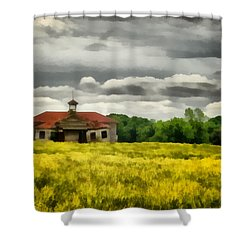 Shower Curtain featuring the painting Shiloh School by Lynne Jenkins