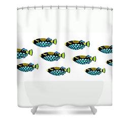 Shoal Of Clown Triggerfish  Shower Curtain by Opas Chotiphantawanon