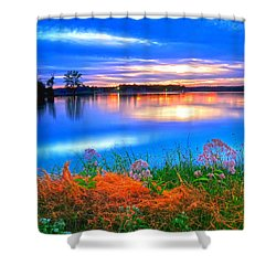 Shower Curtain featuring the photograph Shoreline Sundown by Randall Branham