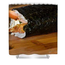 Shrimp Sushi Roll On Cutting Board Shower Curtain by Carolyn Marshall