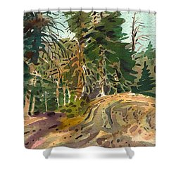 Shower Curtain featuring the painting Sierra Treeline by Donald Maier