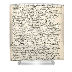 Signatures Attached To The American Declaration Of Independence Of 1776 Shower Curtain by Founding Fathers