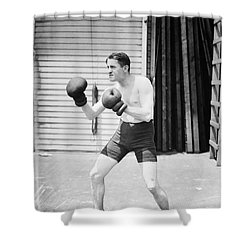 Silent Still: Boxer Shower Curtain by Granger