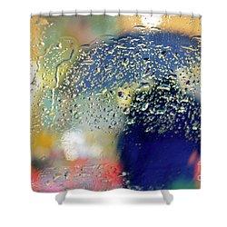 Silhouette In The Rain Shower Curtain by Carlos Caetano