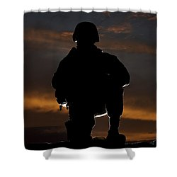 Silhouette Of A U.s. Marine In Uniform Shower Curtain by Terry Moore