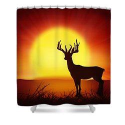 Silhouette Of Deer With Big Sun Shower Curtain by Setsiri Silapasuwanchai