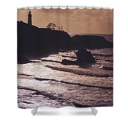 Silhouette Of Lighthouse Shower Curtain by Craig Tuttle