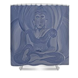 Silver Buddha Shower Curtain by First Star Art