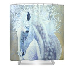 Silver Mare Shower Curtain by Gill Bustamante