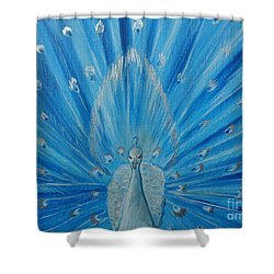 Silver Peacock Shower Curtain by Julie Brugh Riffey