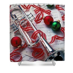Silver Trumper And Christmas Ornaments Shower Curtain by Garry Gay